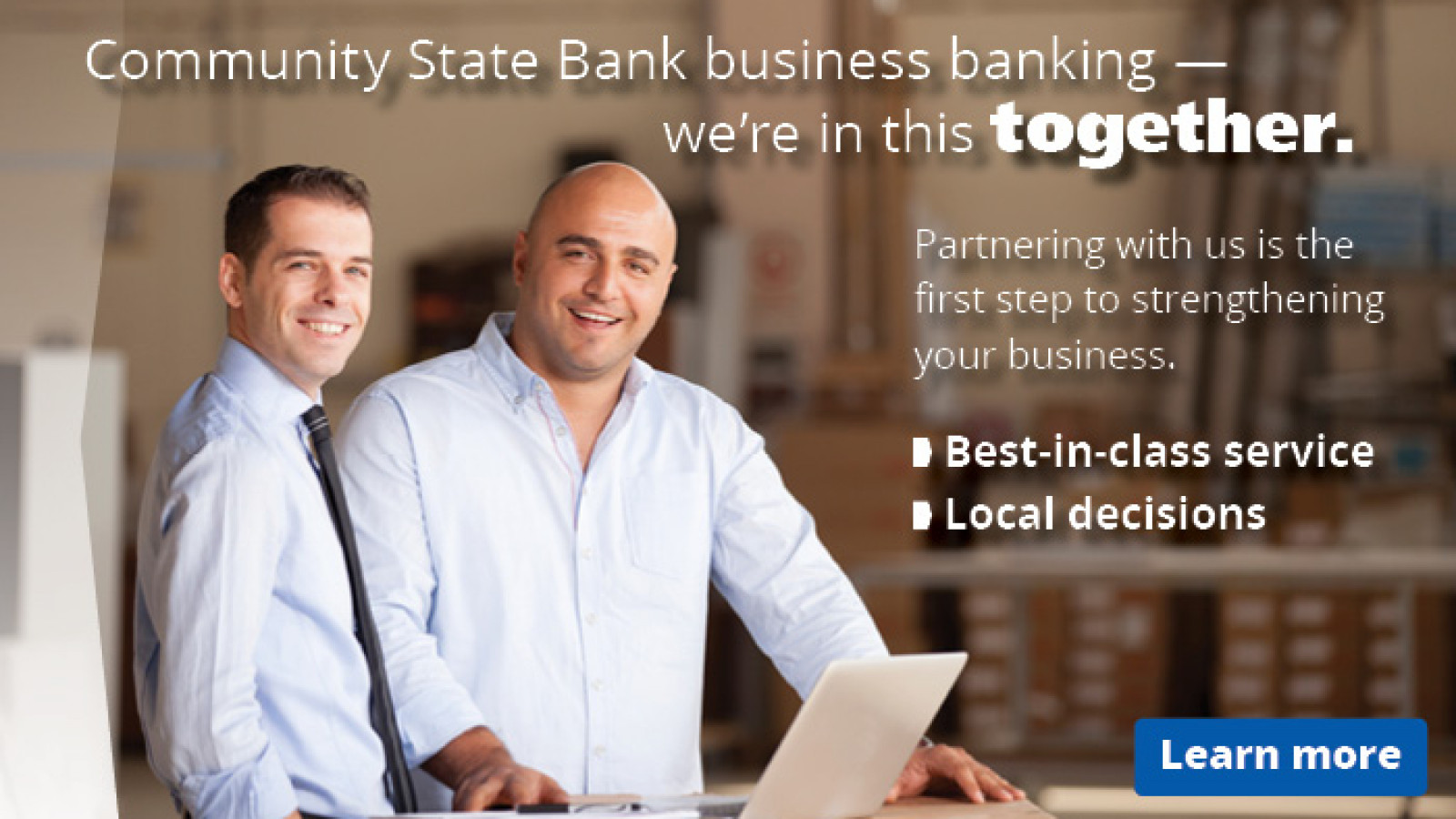 Community State Bank web ad commercial